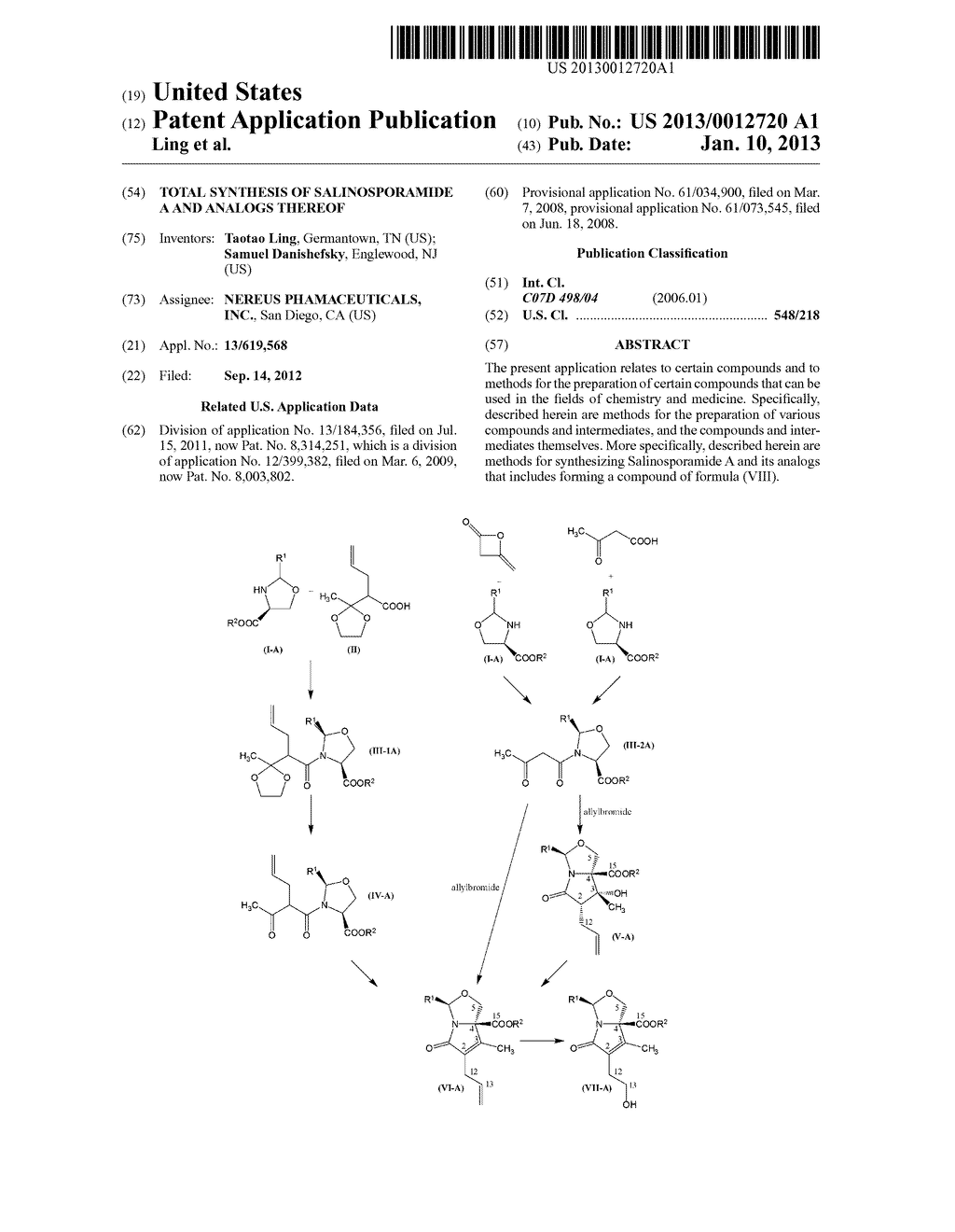 TOTAL SYNTHESIS OF SALINOSPORAMIDE A AND ANALOGS THEREOF - diagram, schematic, and image 01