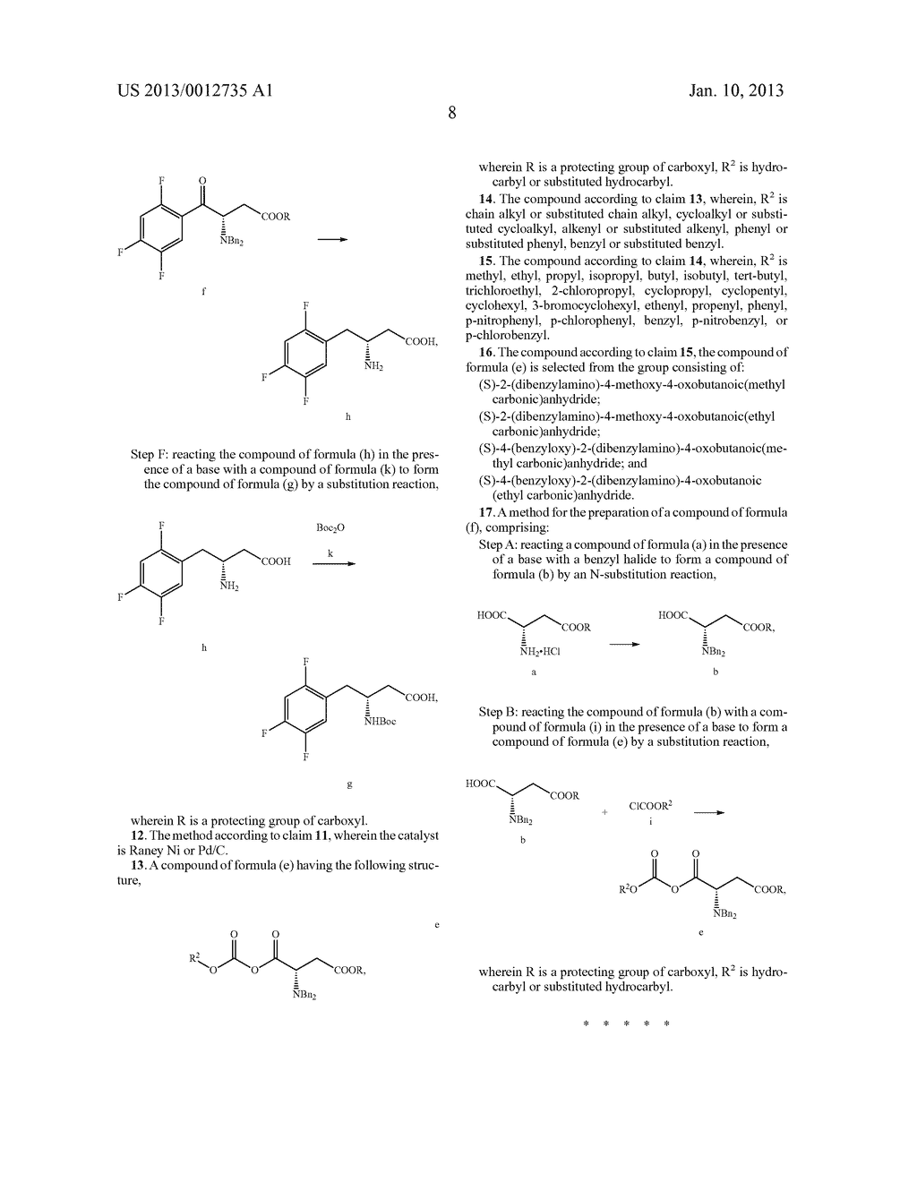 SITAGLIPTIN INTERMEDIATE COMPOUNDS, PREPARATION METHODS AND USES THEREOF - diagram, schematic, and image 09