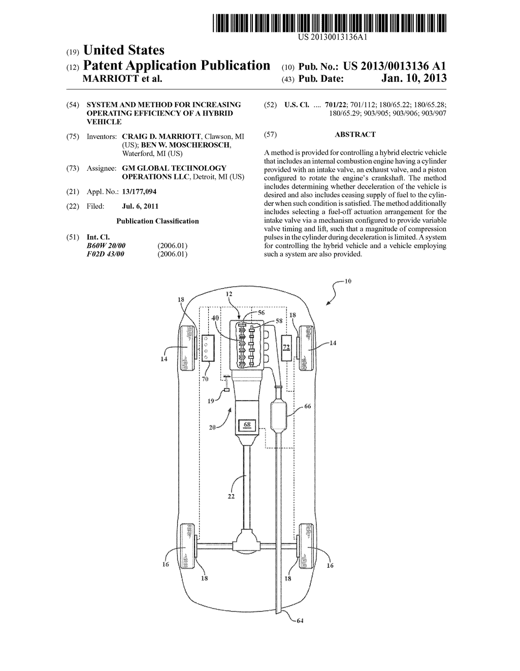 SYSTEM AND METHOD FOR INCREASING OPERATING EFFICIENCY OF A HYBRID VEHICLE - diagram, schematic, and image 01