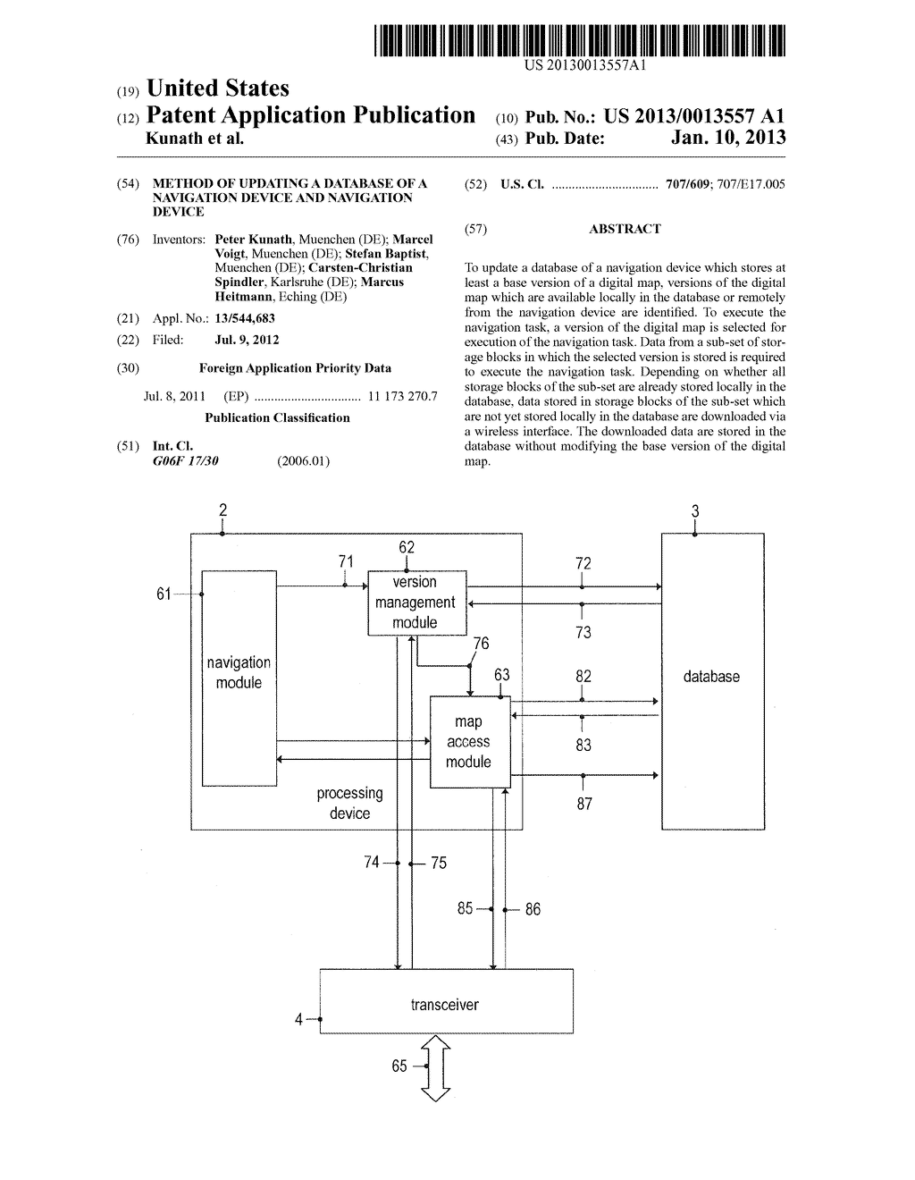 METHOD OF UPDATING A DATABASE OF A NAVIGATION DEVICE AND NAVIGATION DEVICE - diagram, schematic, and image 01