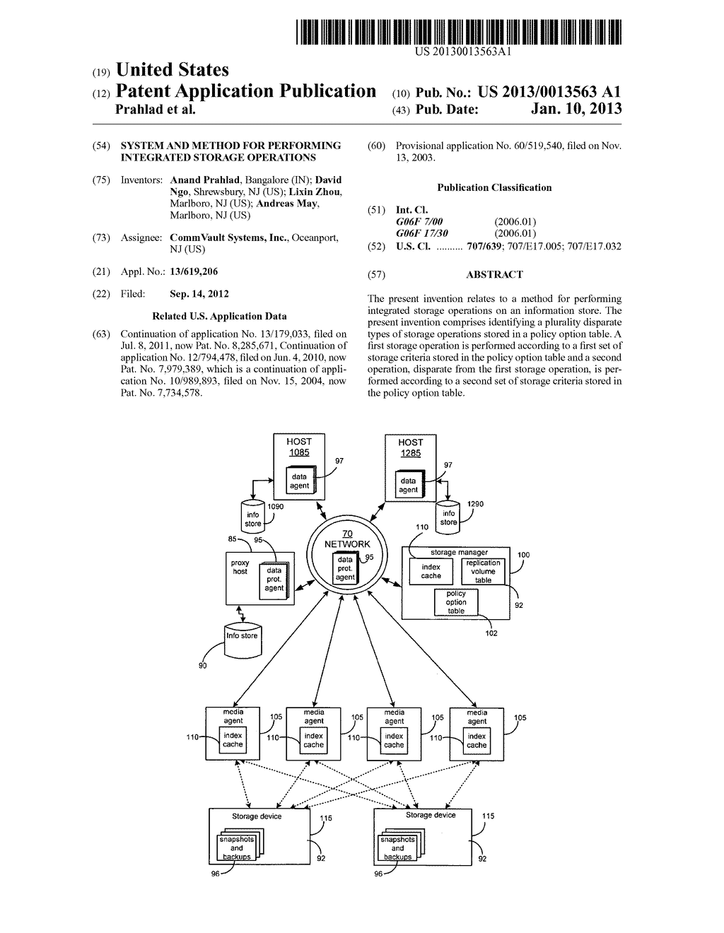 SYSTEM AND METHOD FOR PERFORMING INTEGRATED STORAGE OPERATIONS - diagram, schematic, and image 01