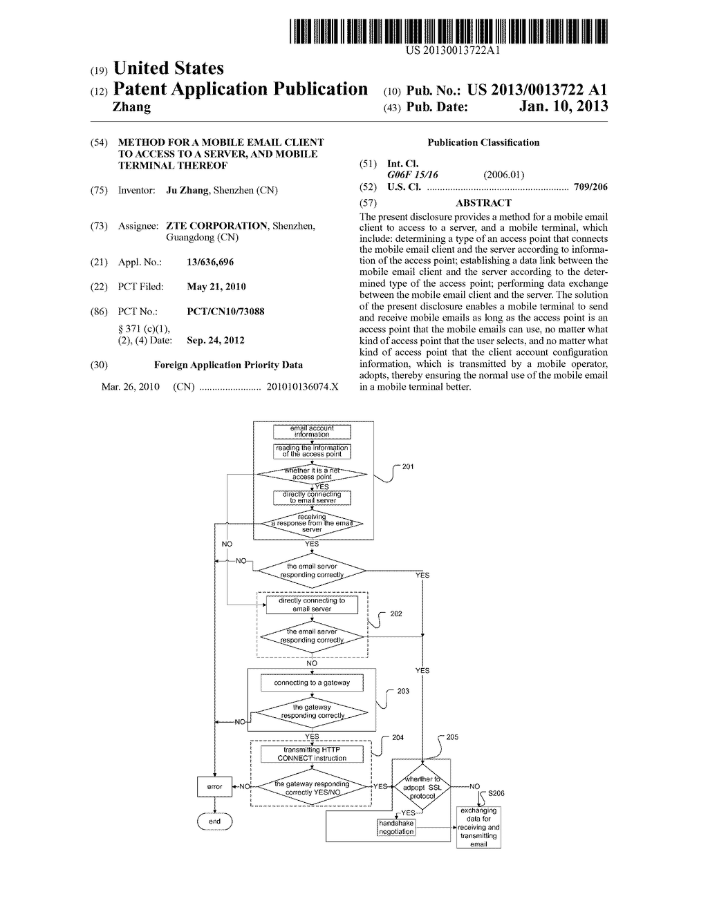 Method for a mobile email client to access to a server, and mobile     terminal thereof - diagram, schematic, and image 01