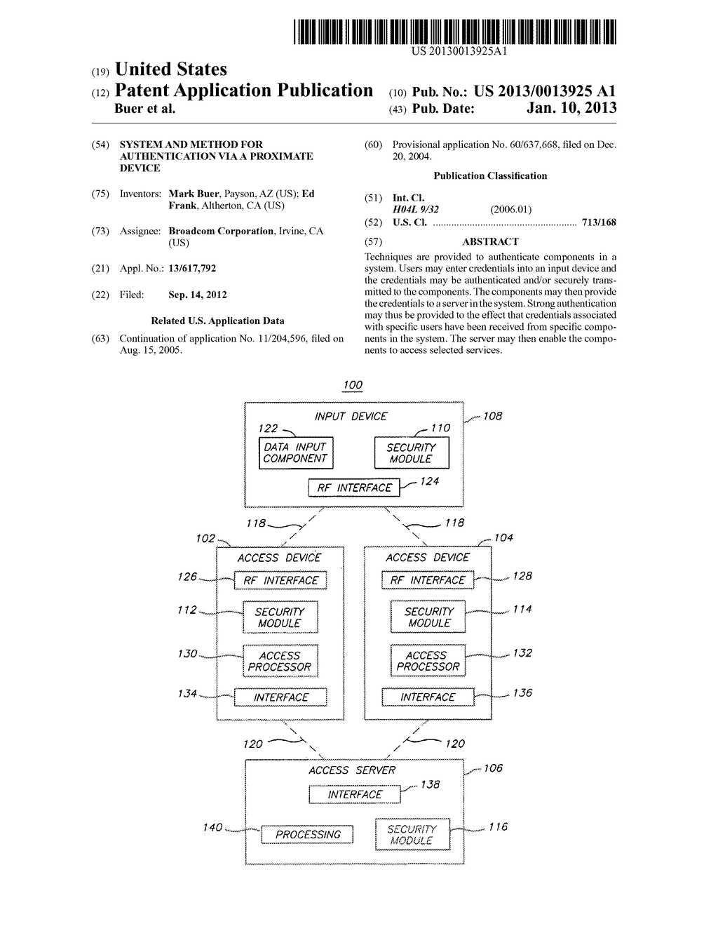 System and Method for Authentication via a Proximate Device - diagram, schematic, and image 01