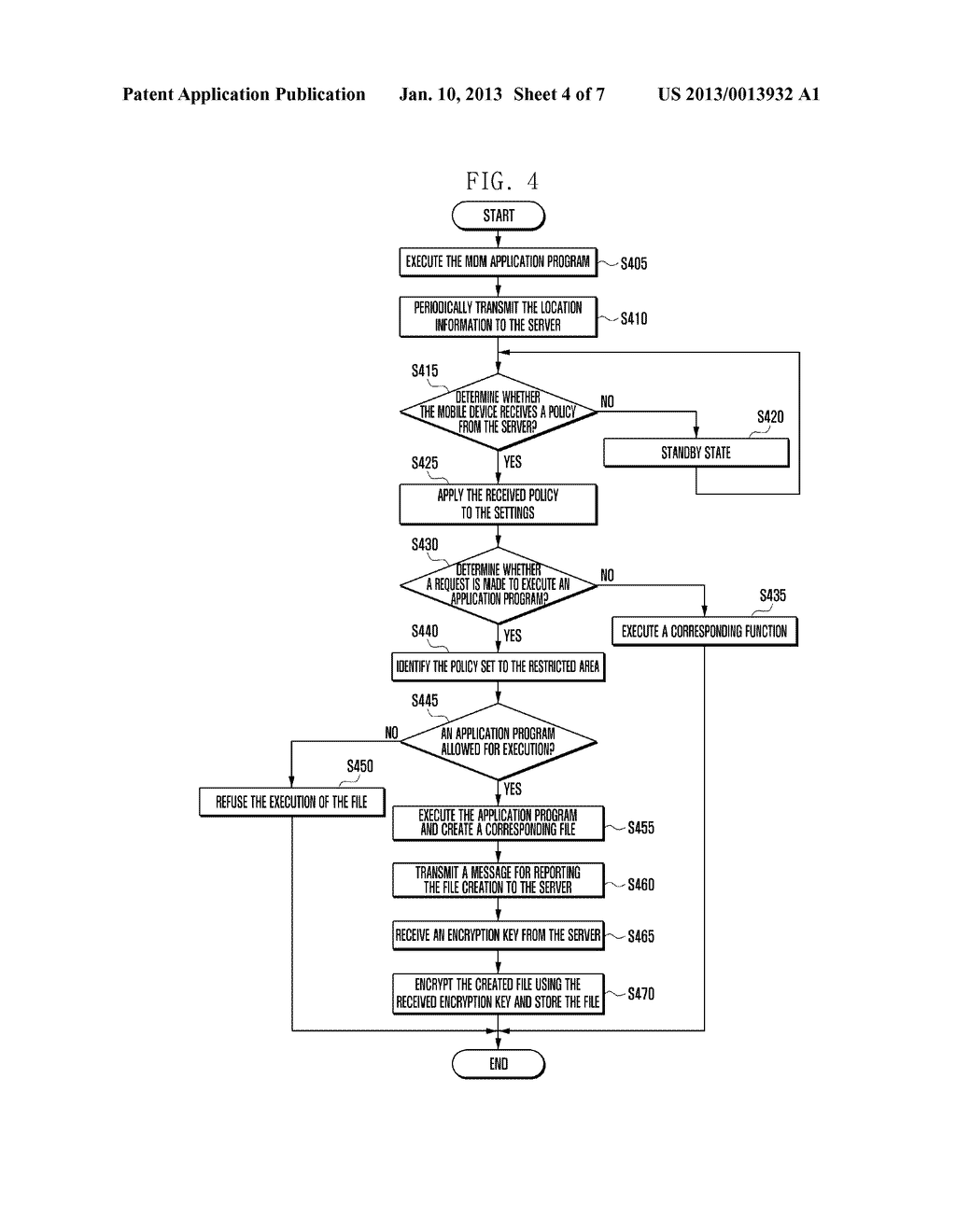 SECURITY MANAGEMENT SYSTEM AND METHOD FOR LOCATION-BASED MOBILE DEVICE - diagram, schematic, and image 05