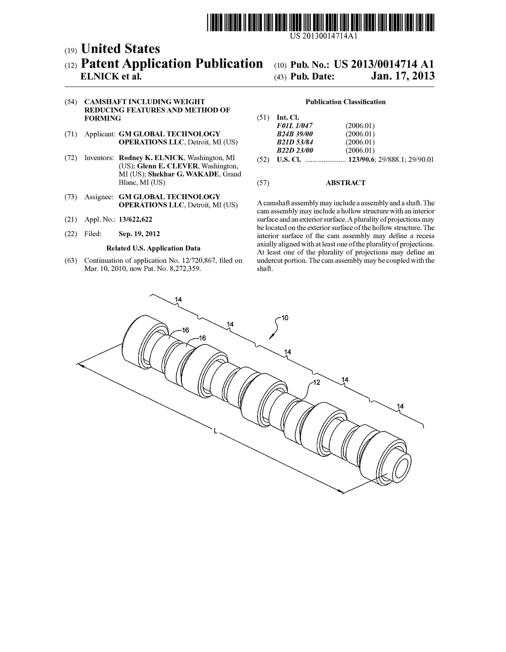 CAMSHAFT INCLUDING WEIGHT REDUCING FEATURES AND METHOD OF FORMING - diagram, schematic, and image 01