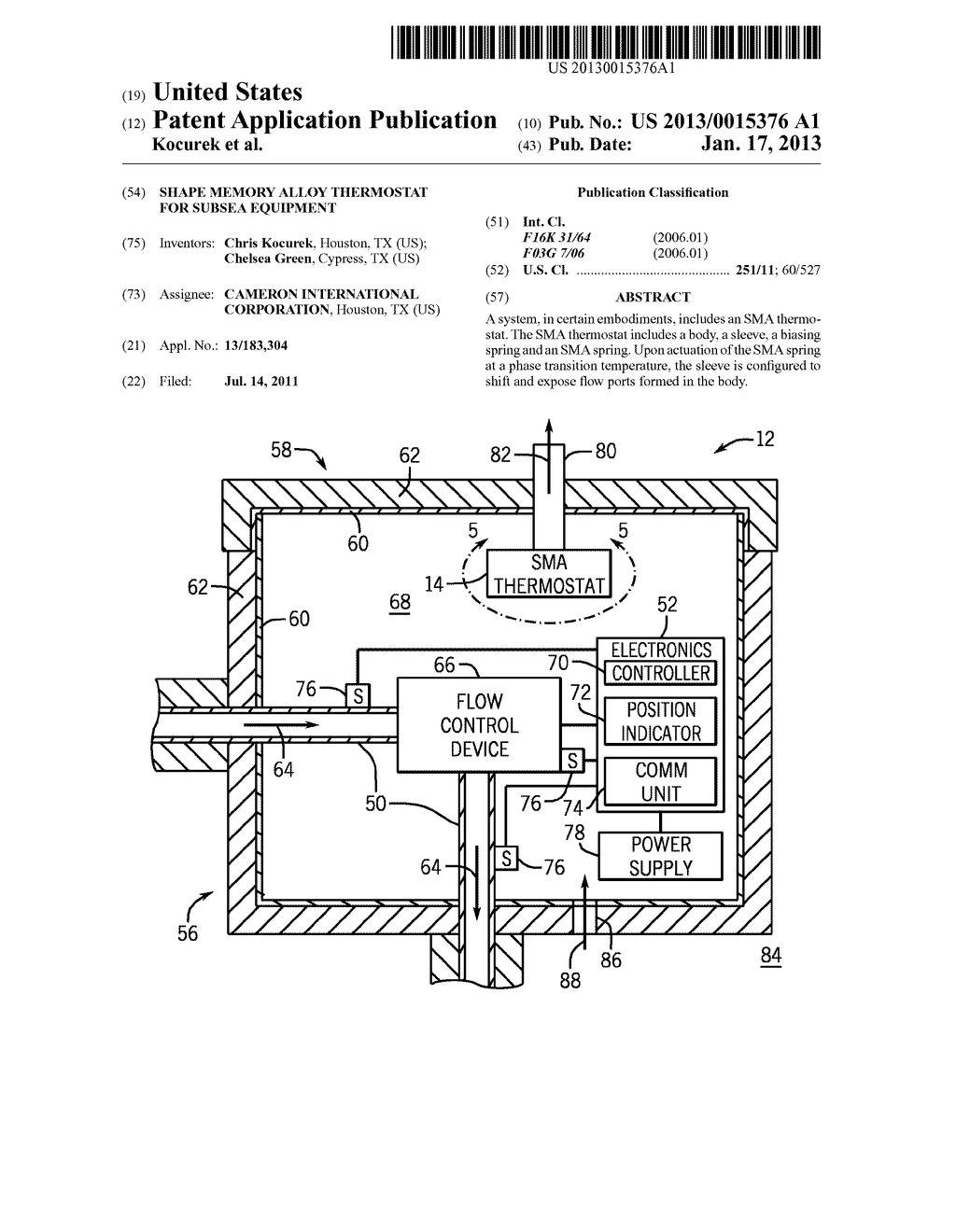SHAPE MEMORY ALLOY THERMOSTAT FOR SUBSEA EQUIPMENTAANM Kocurek; ChrisAACI HoustonAAST TXAACO USAAGP Kocurek; Chris Houston TX USAANM Green; ChelseaAACI CypressAAST TXAACO USAAGP Green; Chelsea Cypress TX US - diagram, schematic, and image 01