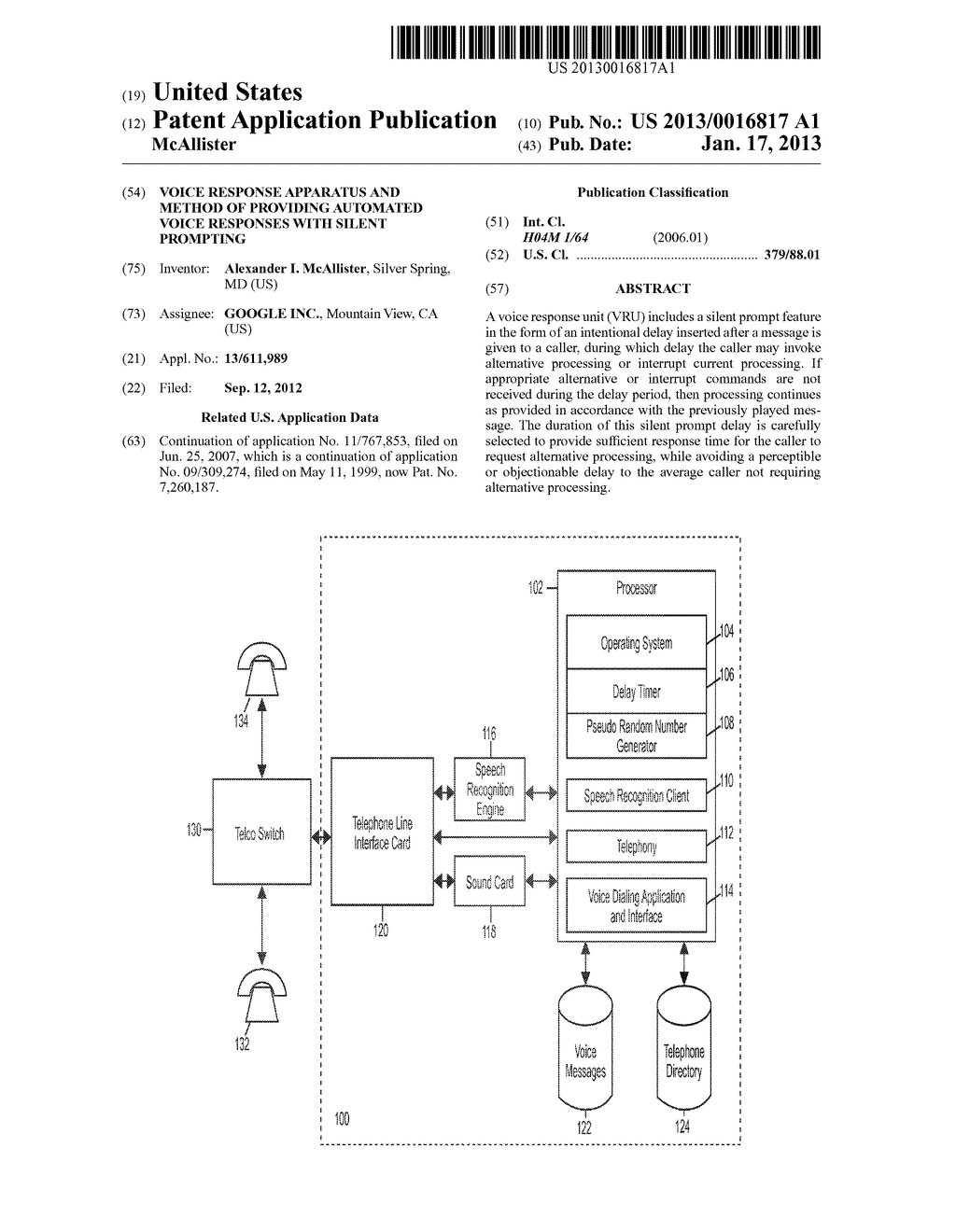 Voice Response Apparatus and Method of Providing Automated Voice Responses     with Silent Prompting - diagram, schematic, and image 01