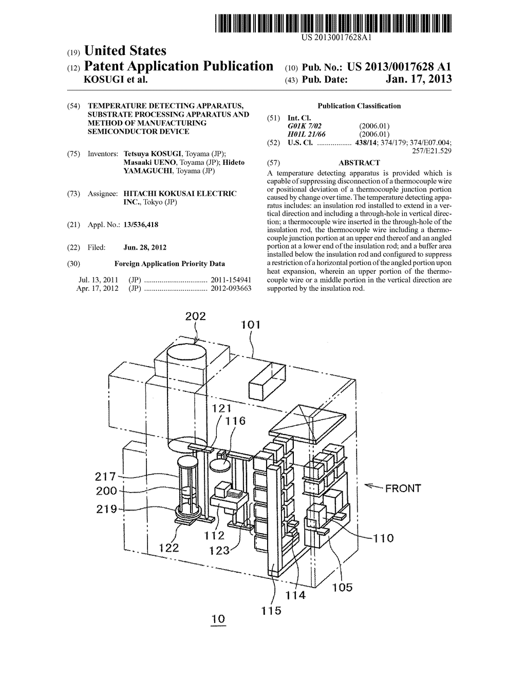 TEMPERATURE DETECTING APPARATUS, SUBSTRATE PROCESSING APPARATUS AND METHOD     OF MANUFACTURING SEMICONDUCTOR DEVICEAANM KOSUGI; TetsuyaAACI ToyamaAACO JPAAGP KOSUGI; Tetsuya Toyama JPAANM UENO; MasaakiAACI ToyamaAACO JPAAGP UENO; Masaaki Toyama JPAANM YAMAGUCHI; HidetoAACI ToyamaAACO JPAAGP YAMAGUCHI; Hideto Toyama JP - diagram, schematic, and image 01