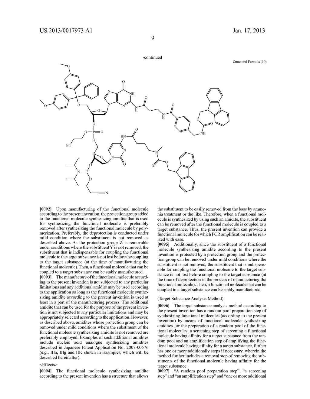 FUNCTIONAL MOLECULE, FUNCTIONAL MOLECULE SYNTHESIZING AMIDITE AND TARGET     SUBSTANCE ANALYSIS METHOD - diagram, schematic, and image 59