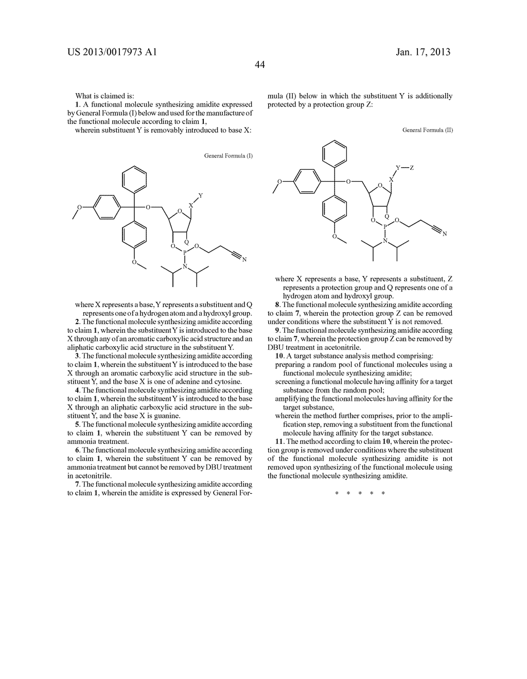 FUNCTIONAL MOLECULE, FUNCTIONAL MOLECULE SYNTHESIZING AMIDITE AND TARGET     SUBSTANCE ANALYSIS METHOD - diagram, schematic, and image 94