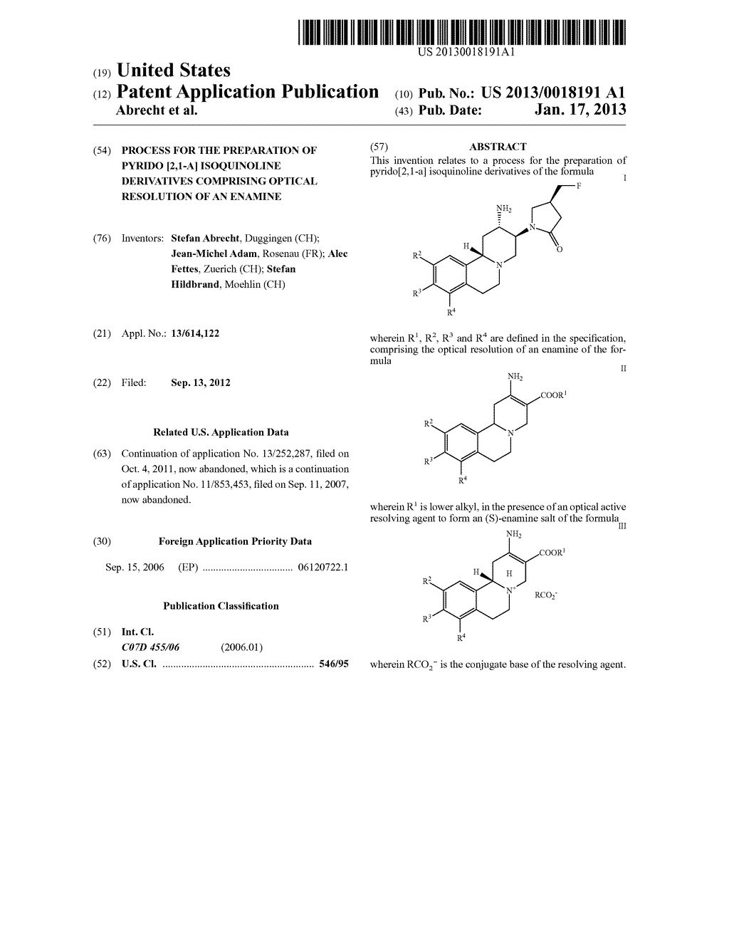 PROCESS FOR THE PREPARATION OF PYRIDO [2,1-A] ISOQUINOLINE DERIVATIVES     COMPRISING OPTICAL RESOLUTION OF AN ENAMINE - diagram, schematic, and image 01