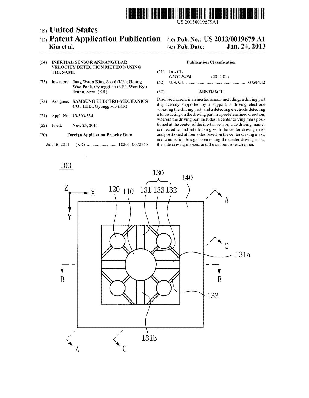 INERTIAL SENSOR AND ANGULAR VELOCITY DETECTION METHOD USING THE SAME - diagram, schematic, and image 01