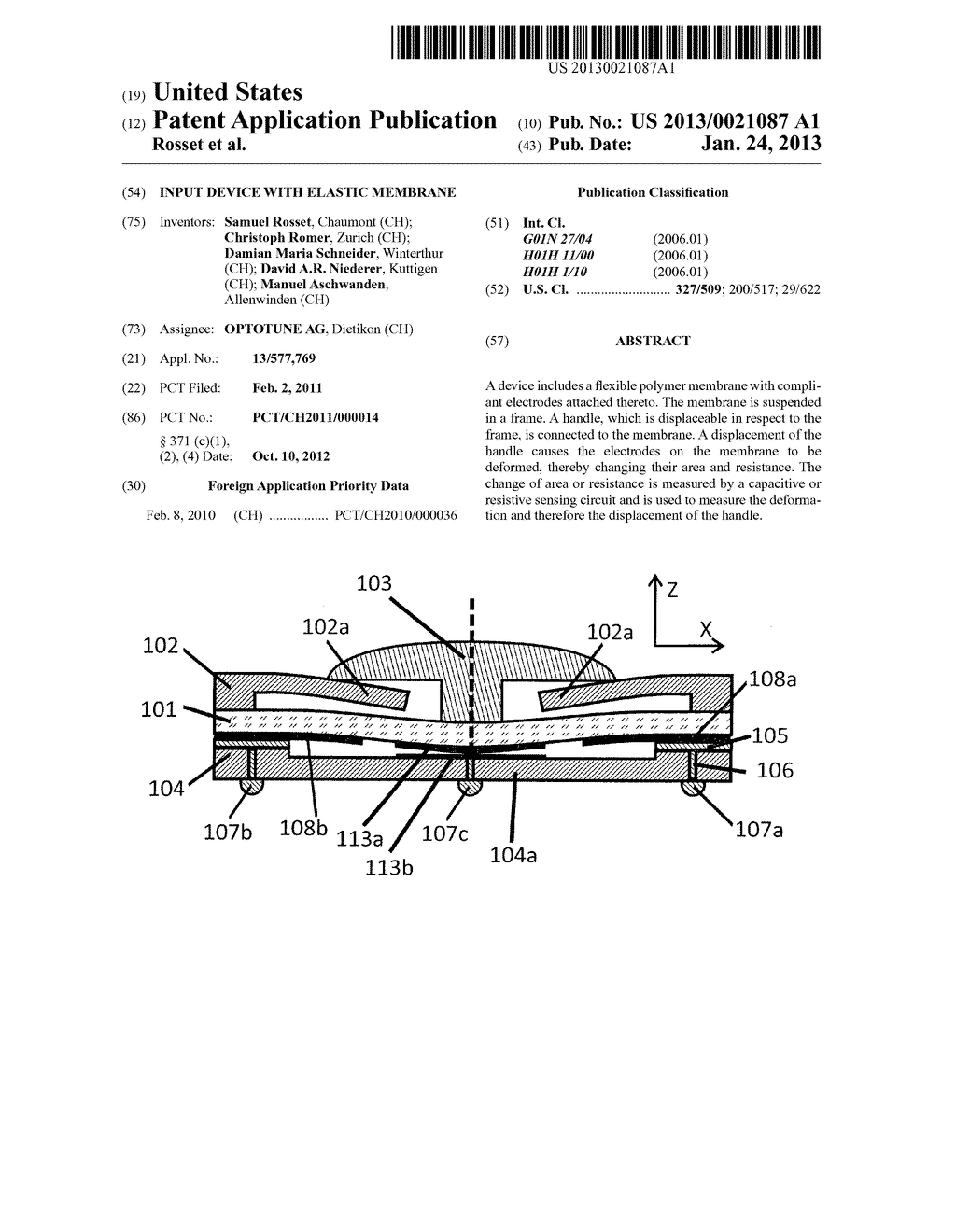 INPUT DEVICE WITH ELASTIC MEMBRANE - diagram, schematic, and image 01
