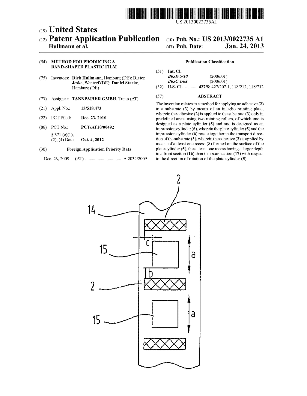 METHOD FOR PRODUCING A BAND-SHAPED PLASTIC FILM - diagram, schematic, and image 01