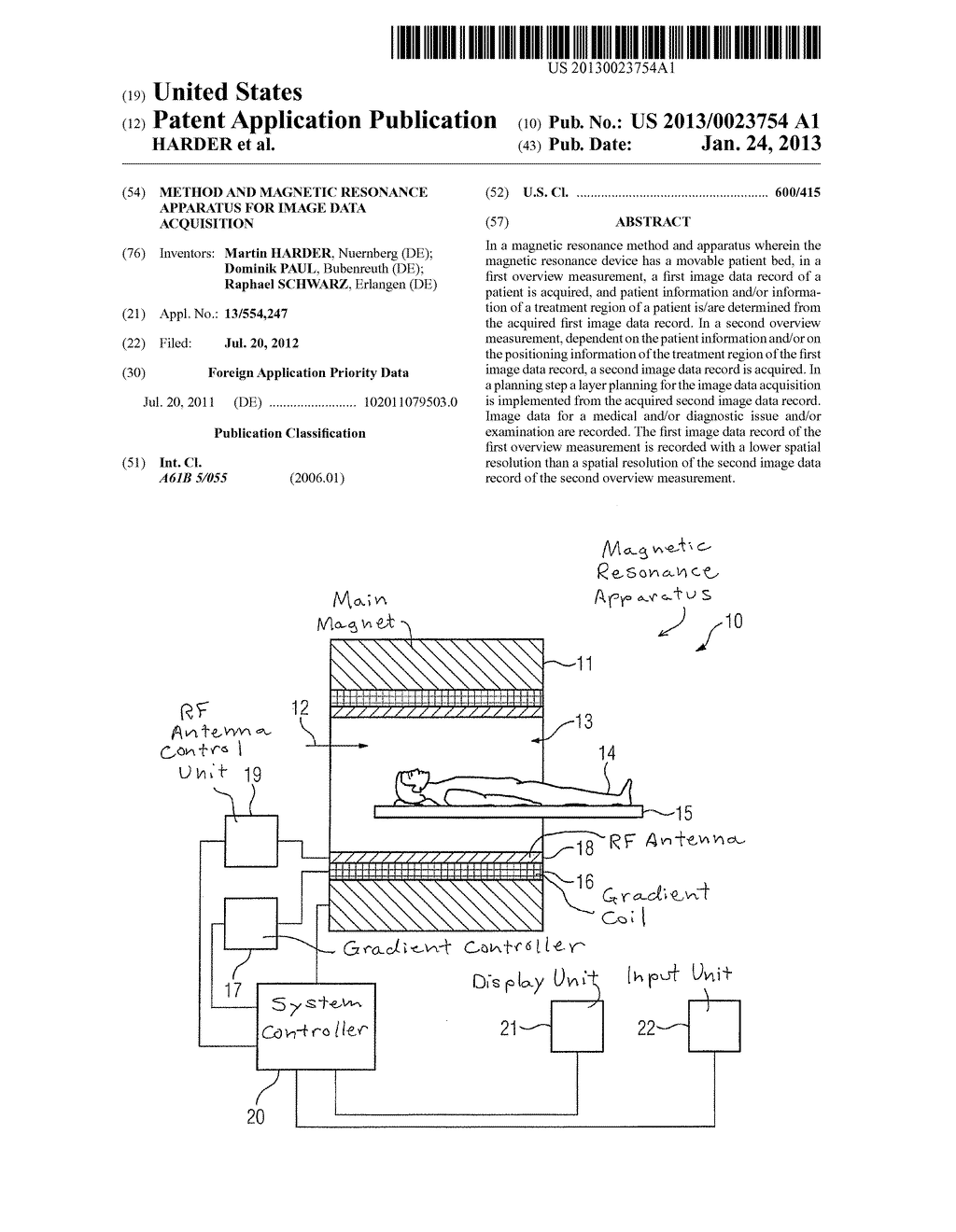 METHOD AND MAGNETIC RESONANCE APPARATUS FOR IMAGE DATA ACQUISITION - diagram, schematic, and image 01