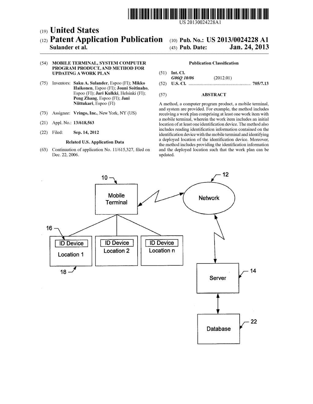 Mobile Terminal, System Computer Program Product, and Method for Updating     a Work Plan - diagram, schematic, and image 01
