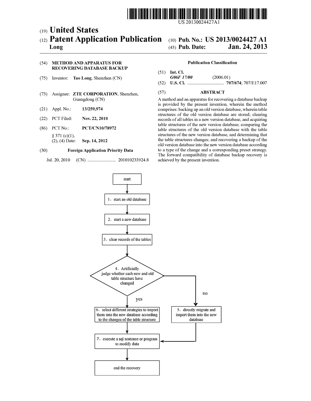 Method and Apparatus for Recovering Database Backup - diagram, schematic, and image 01