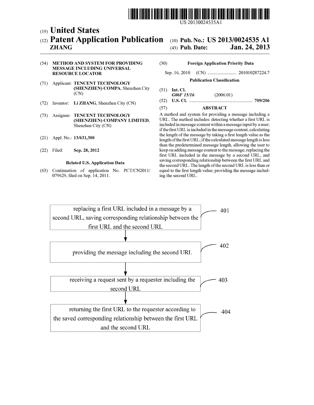 METHOD AND SYSTEM FOR PROVIDING MESSAGE INCLUDING UNIVERSAL RESOURCE     LOCATOR - diagram, schematic, and image 01