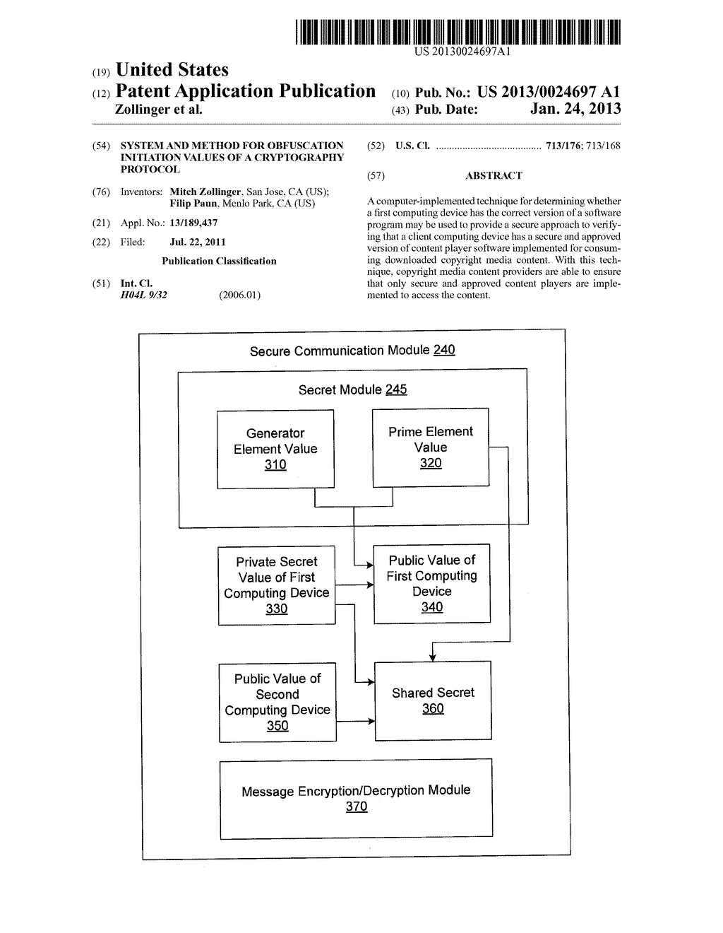 SYSTEM AND METHOD FOR OBFUSCATION INITIATION VALUES OF A CRYPTOGRAPHY     PROTOCOL - diagram, schematic, and image 01