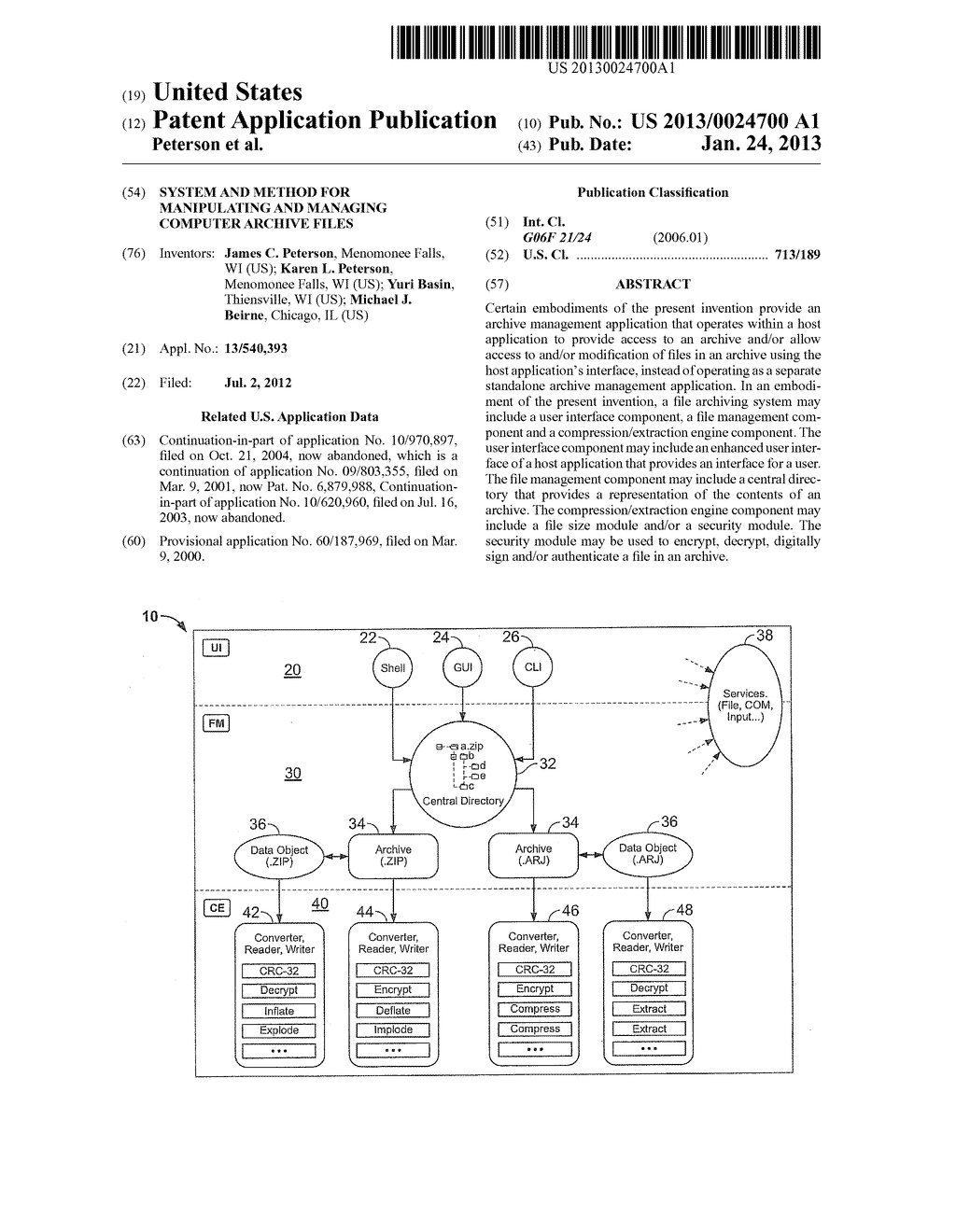 SYSTEM AND METHOD FOR MANIPULATING AND MANAGING COMPUTER ARCHIVE FILES - diagram, schematic, and image 01