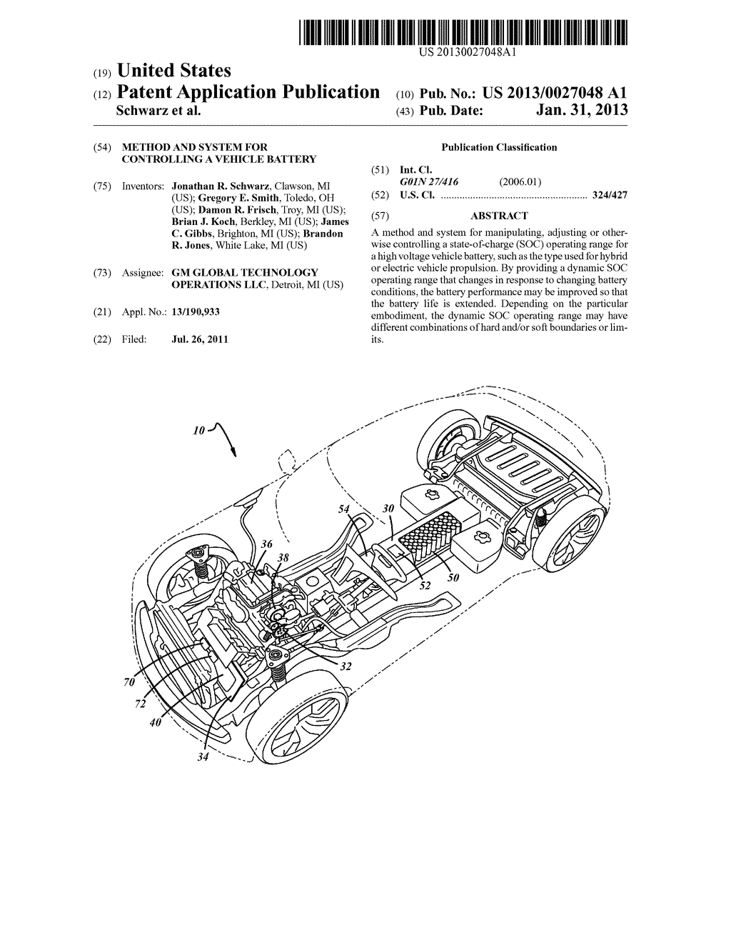 METHOD AND SYSTEM FOR CONTROLLING A VEHICLE BATTERY - diagram, schematic, and image 01