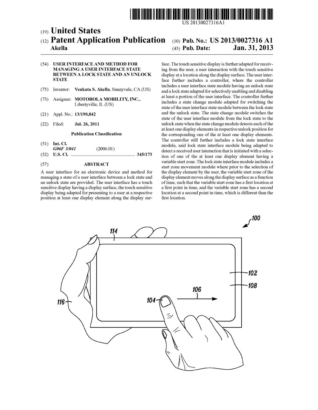 USER INTERFACE AND METHOD FOR MANAGING A USER INTERFACE STATE BETWEEN A     LOCK STATE AND AN UNLOCK STATE - diagram, schematic, and image 01