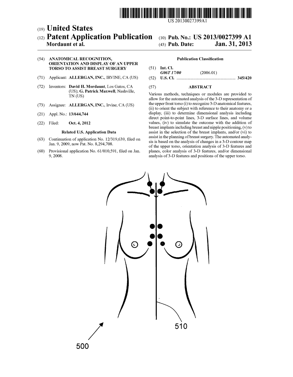 ANATOMICAL RECOGNITION, ORIENTATION AND DISPLAY OF AN UPPER TORSO TO     ASSIST BREAST SURGERY - diagram, schematic, and image 01
