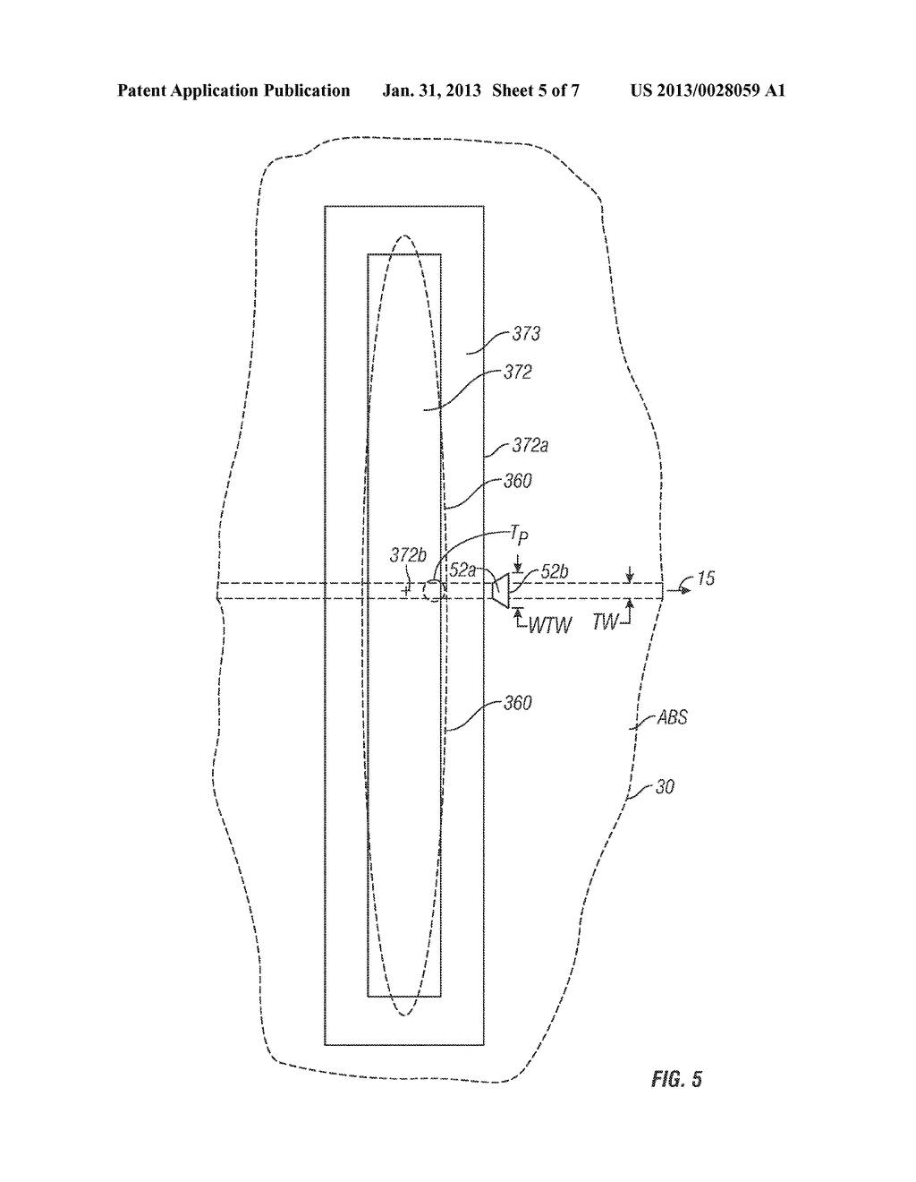 MAGNETIC RECORDING DISK DRIVE WITH SHINGLED WRITING AND RECTANGULAR     OPTICAL WAVEGUIDE FOR WIDE-AREA THERMAL ASSISTANCE - diagram, schematic, and image 06