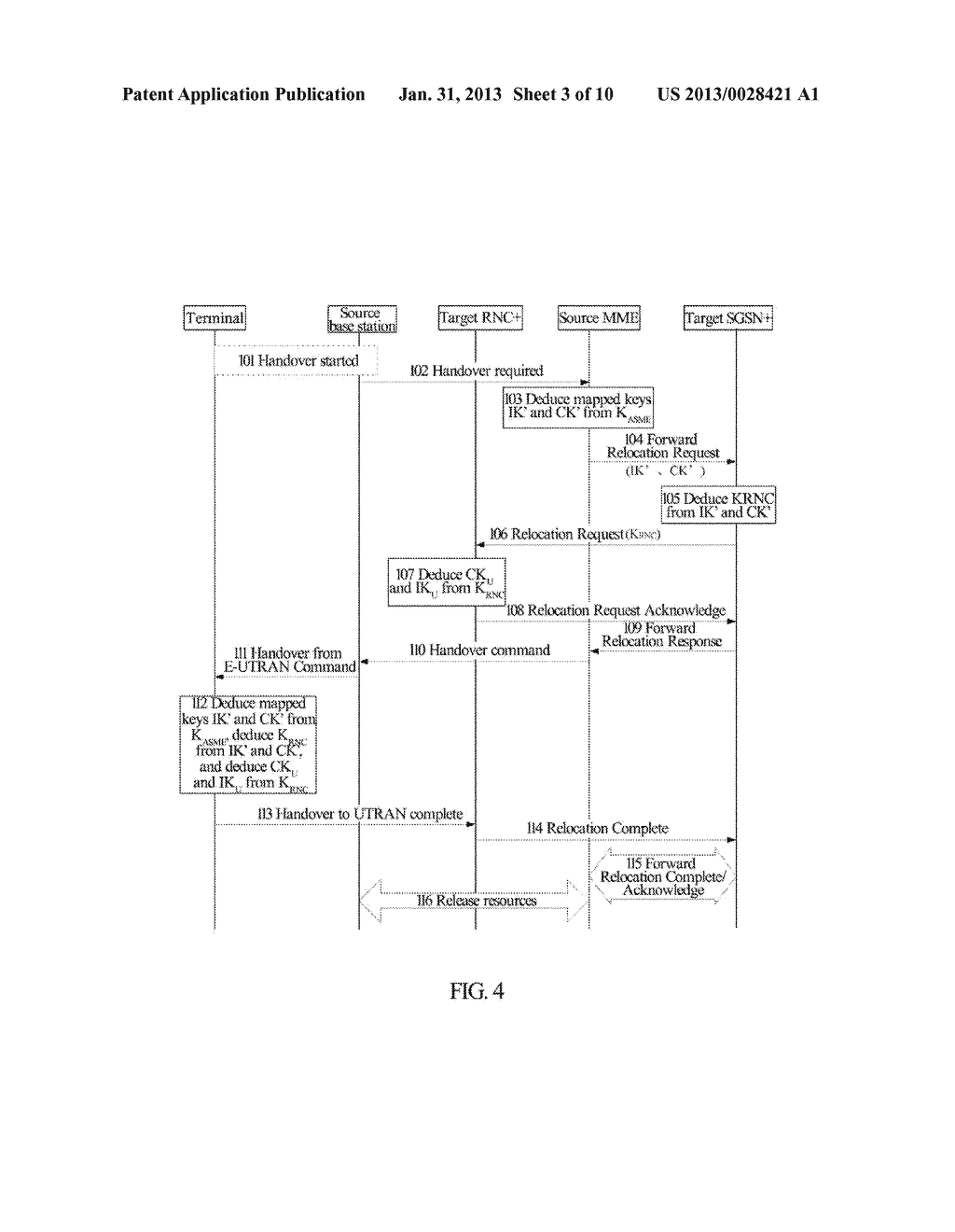 Method and System for Establishing Enhanced Key when Terminal Moves to     Enhanced Universal Terrestrial Radio Access Network (UTRAN) - diagram, schematic, and image 04