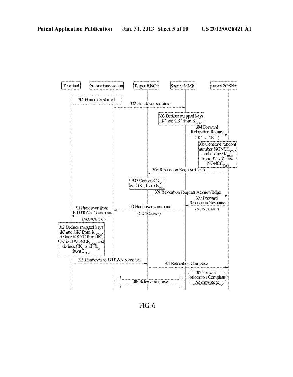 Method and System for Establishing Enhanced Key when Terminal Moves to     Enhanced Universal Terrestrial Radio Access Network (UTRAN) - diagram, schematic, and image 06