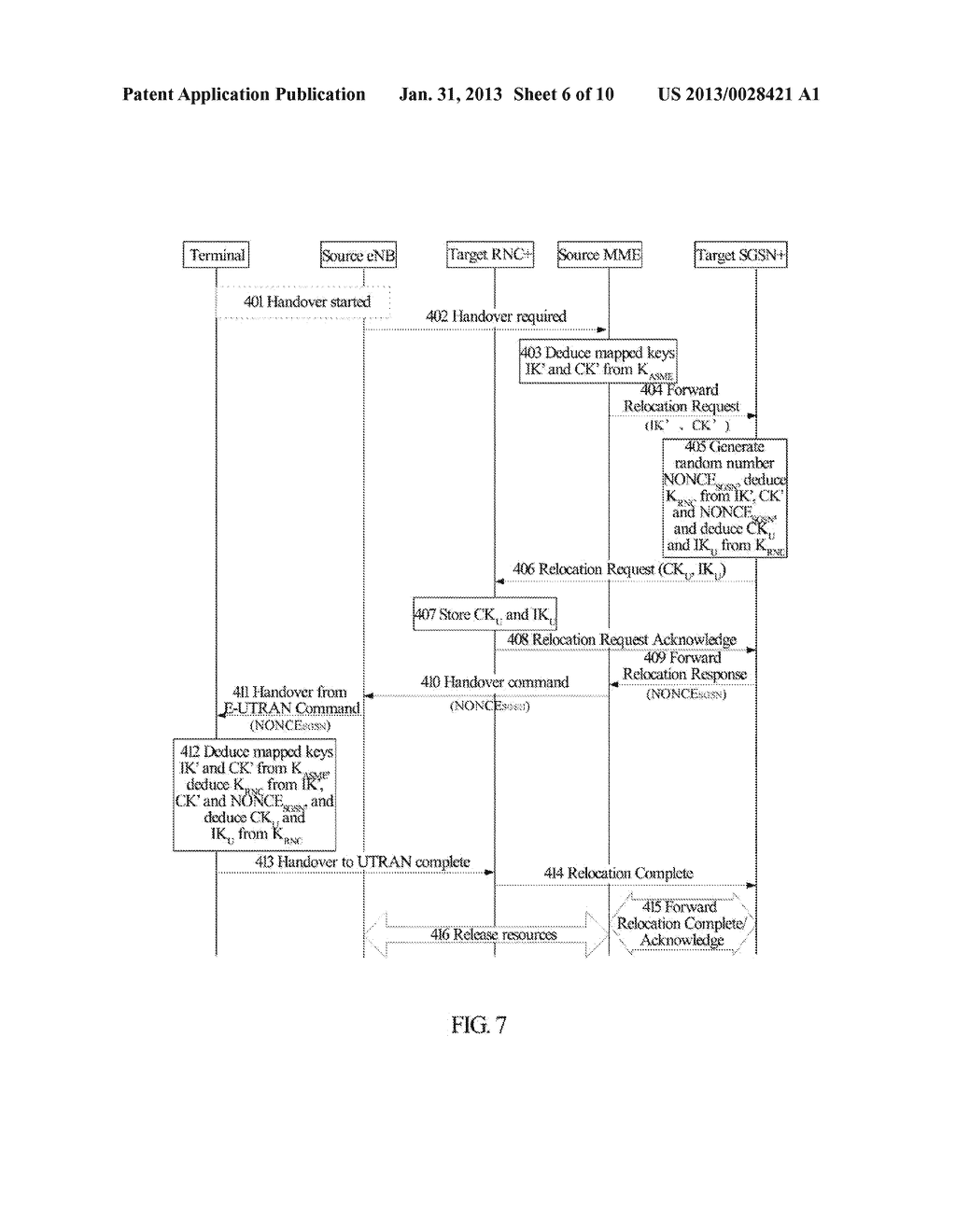 Method and System for Establishing Enhanced Key when Terminal Moves to     Enhanced Universal Terrestrial Radio Access Network (UTRAN) - diagram, schematic, and image 07