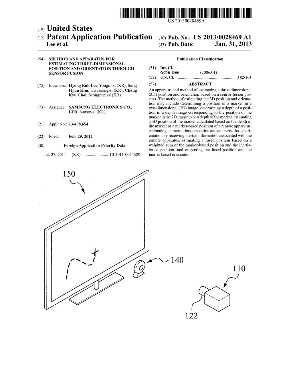 METHOD AND APPARATUS FOR ESTIMATING THREE-DIMENSIONAL POSITION AND     ORIENTATION THROUGH SENSOR FUSION - diagram, schematic, and image 01
