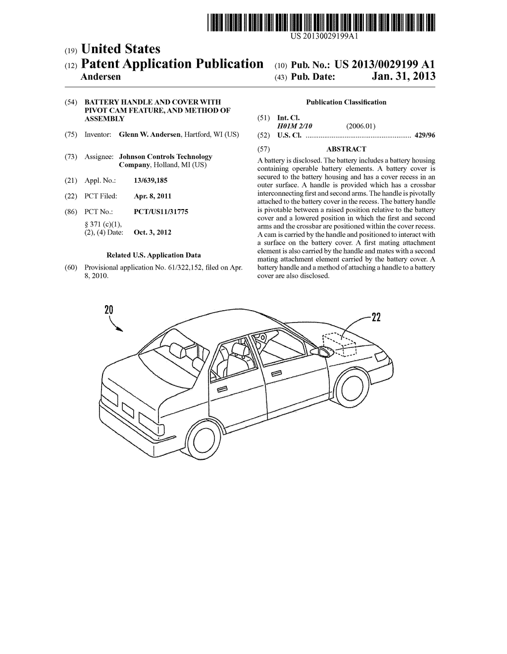 BATTERY HANDLE AND COVER WITH PIVOT CAM FEATURE, AND METHOD OF ASSEMBLY - diagram, schematic, and image 01