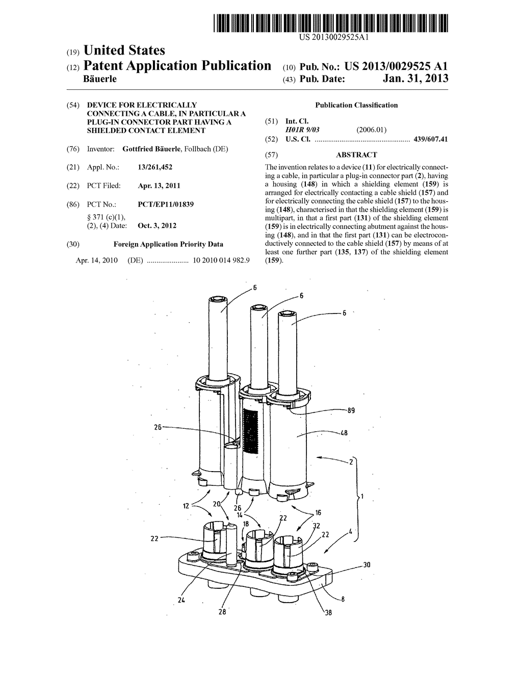 DEVICE FOR ELECTRICALLY CONNECTING A CABLE, IN PARTICULAR A PLUG-IN     CONNECTOR PART HAVING A SHIELDED CONTACT ELEMENT - diagram, schematic, and image 01