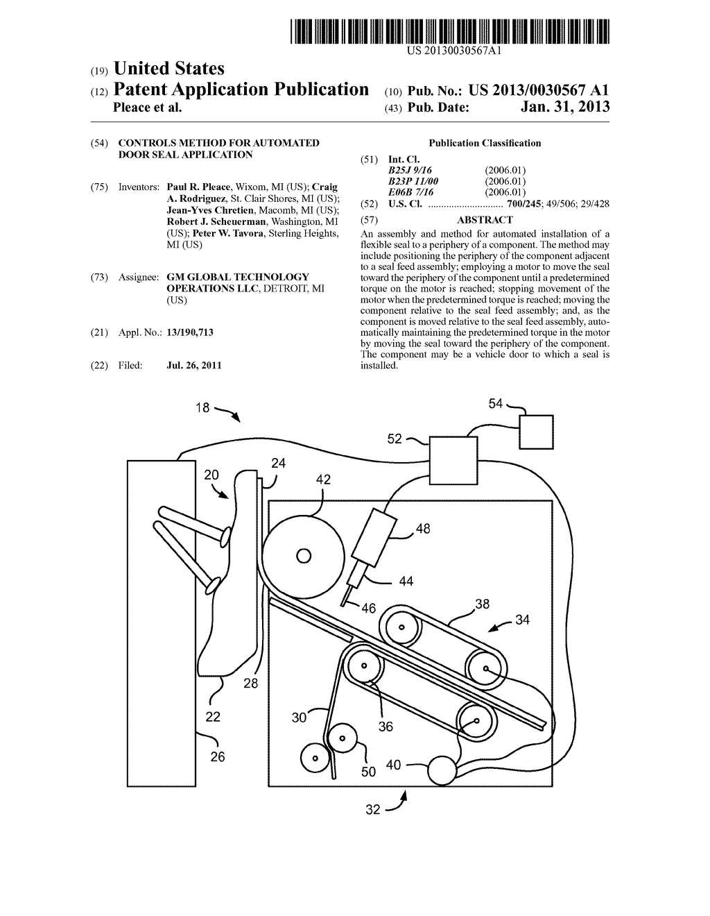 Controls method for automated door seal application - diagram, schematic, and image 01