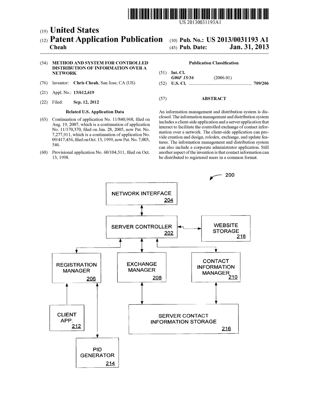 Method and System for Controlled Distribution of Information Over a     Network - diagram, schematic, and image 01