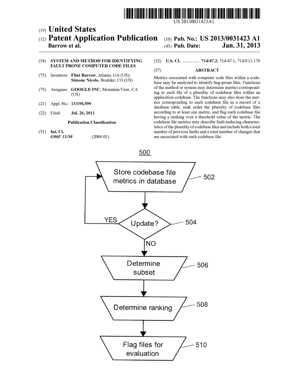 System and Method for Identifying Fault Prone Computer Code Files - diagram, schematic, and image 01