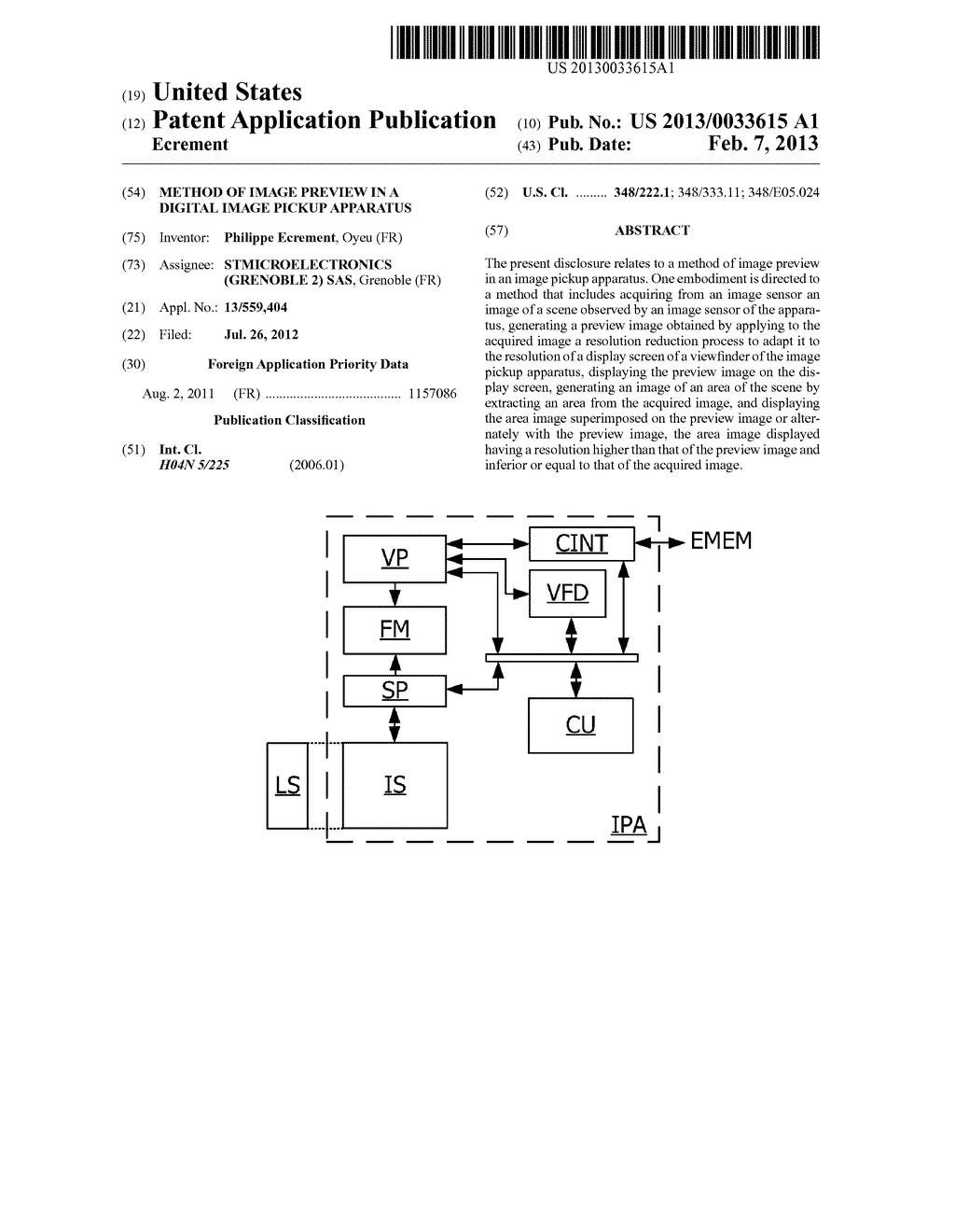 METHOD OF IMAGE PREVIEW IN A DIGITAL IMAGE PICKUP APPARATUS - diagram, schematic, and image 01