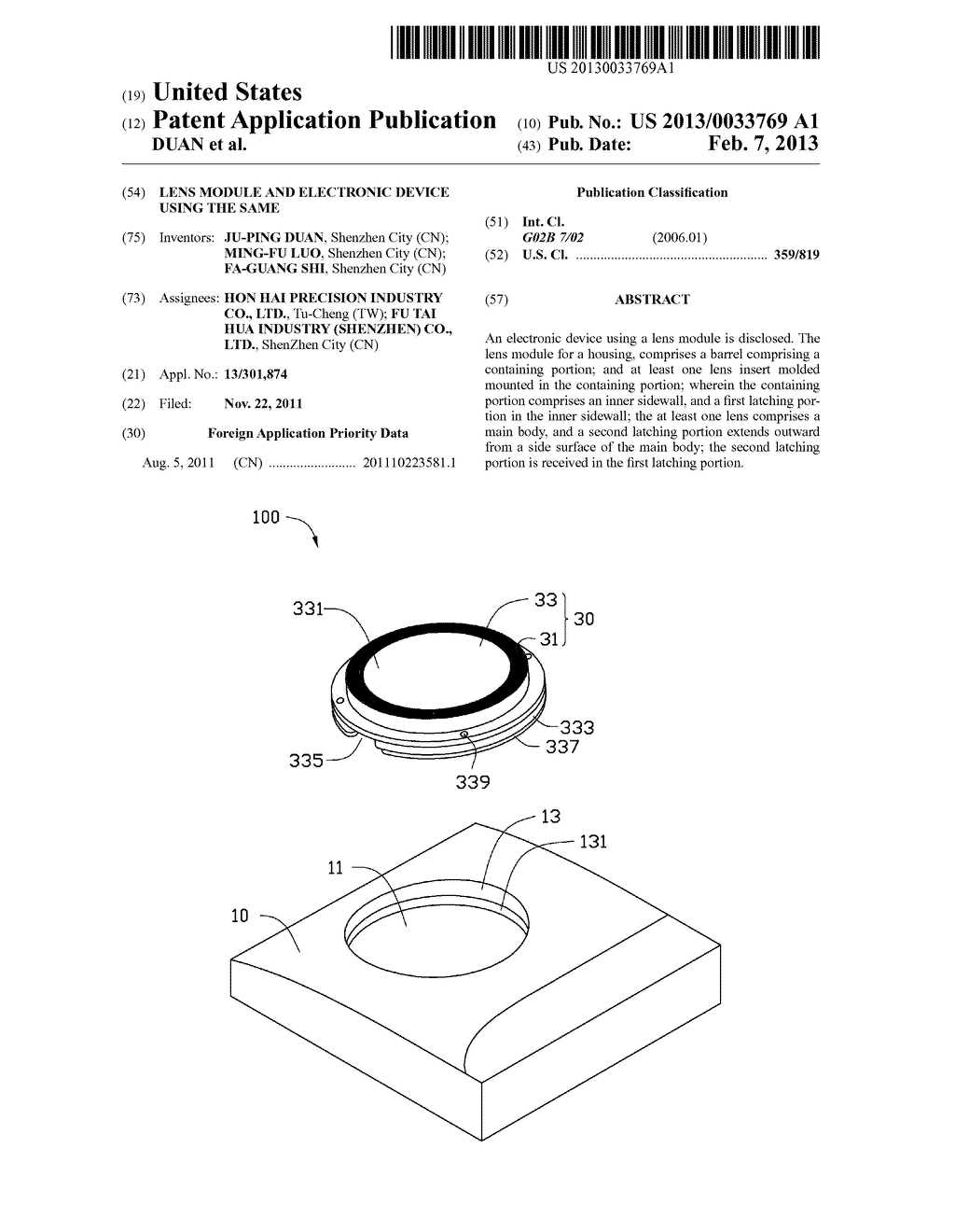 LENS MODULE AND ELECTRONIC DEVICE USING THE SAME - diagram, schematic, and image 01