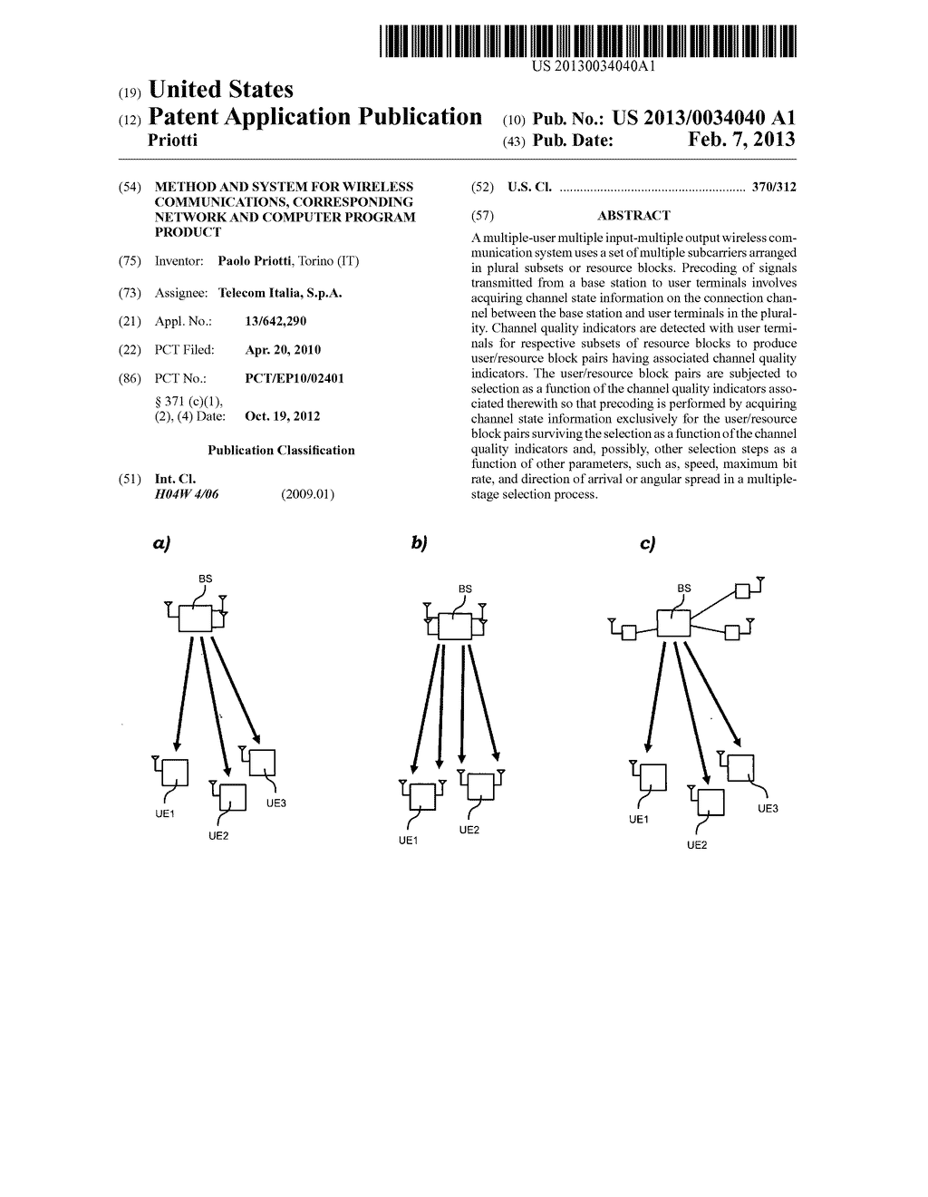METHOD AND SYSTEM FOR WIRELESS COMMUNICATIONS, CORRESPONDING NETWORK AND     COMPUTER PROGRAM PRODUCT - diagram, schematic, and image 01