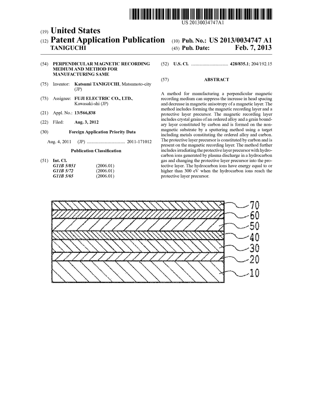 PERPENDICULAR MAGNETIC RECORDING MEDIUM AND METHOD FOR MANUFACTURING SAME - diagram, schematic, and image 01