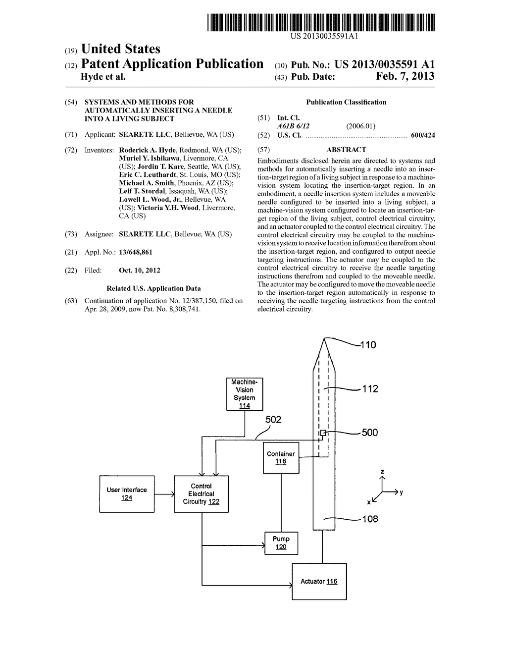 SYSTEMS AND METHODS FOR AUTOMATICALLY INSERTING A NEEDLE INTO A LIVING     SUBJECT - diagram, schematic, and image 01