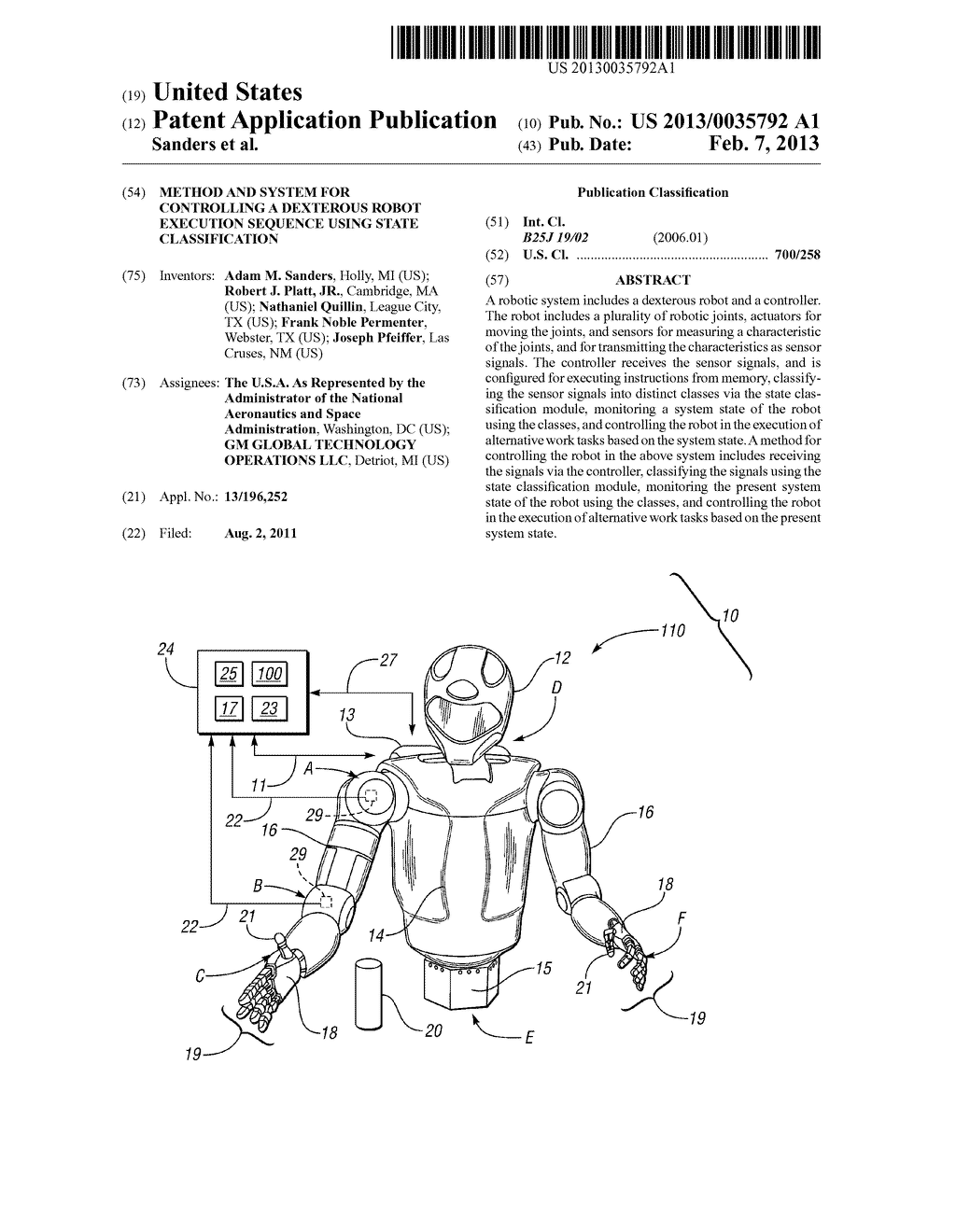 METHOD AND SYSTEM FOR CONTROLLING A DEXTEROUS ROBOT EXECUTION SEQUENCE     USING STATE CLASSIFICATION - diagram, schematic, and image 01