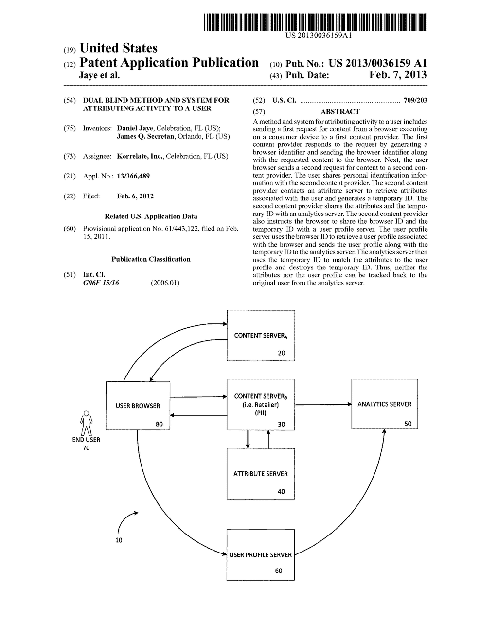 Dual Blind Method and System for Attributing Activity to a User - diagram, schematic, and image 01
