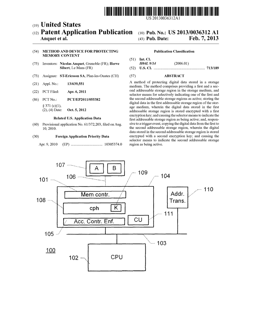 Method and Device for Protecting Memory Content - diagram, schematic, and image 01