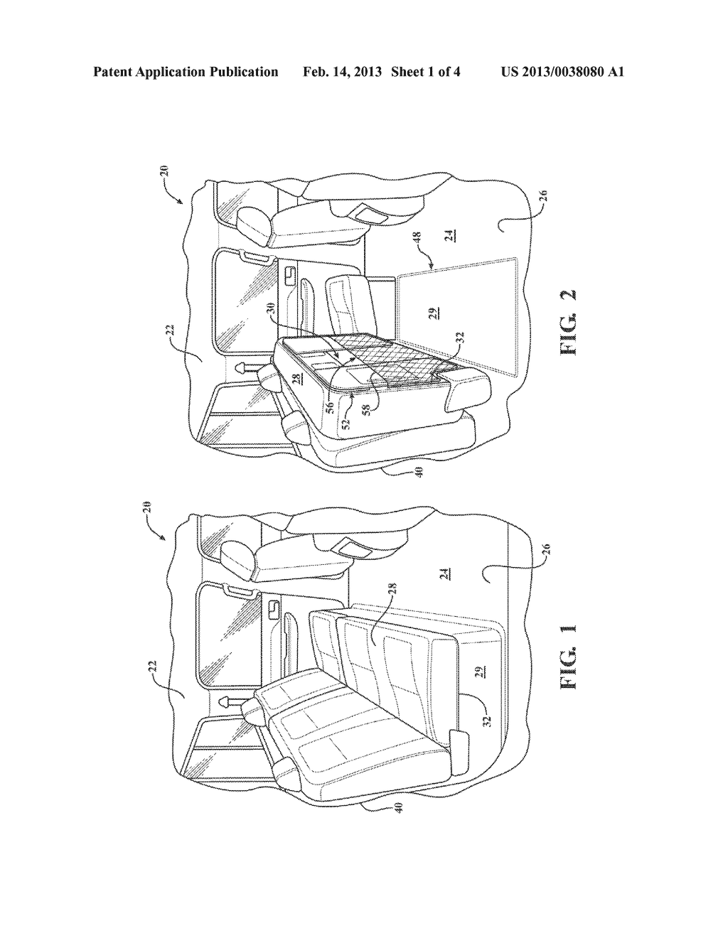 STOWABLE UNDER-SEAT STORAGE SYSTEM AND METHOD OF ORGANIZING A PASSENGER     COMPARTMENT OF A VEHICLE - diagram, schematic, and image 02