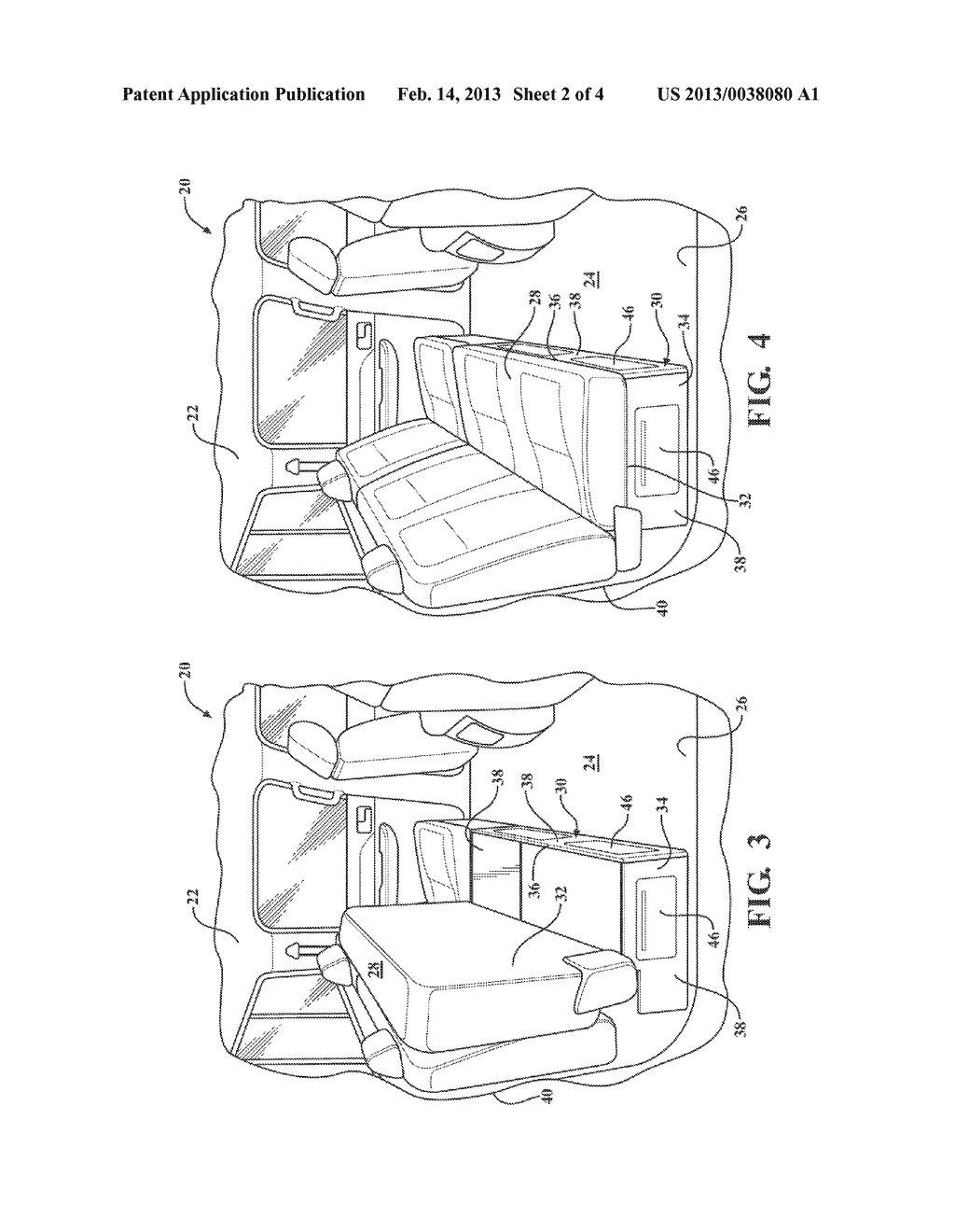 STOWABLE UNDER-SEAT STORAGE SYSTEM AND METHOD OF ORGANIZING A PASSENGER     COMPARTMENT OF A VEHICLE - diagram, schematic, and image 03