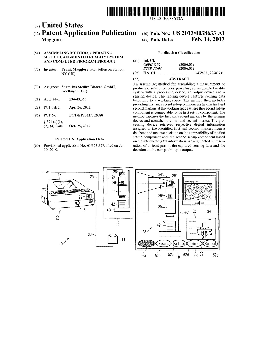 ASSEMBLING METHOD, OPERATING METHOD, AUGMENTED REALITY SYSTEM AND COMPUTER     PROGRAM PRODUCT - diagram, schematic, and image 01