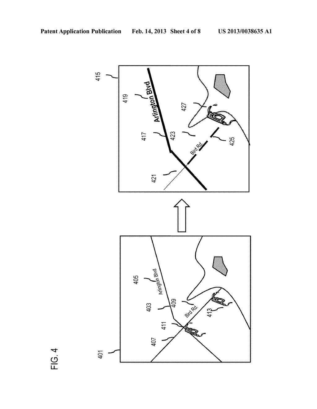 METHOD AND APPARATUS FOR PROVIDING SMART ZOOMING OF A GEOGRAPHIC     REPRESENTATION - diagram, schematic, and image 05