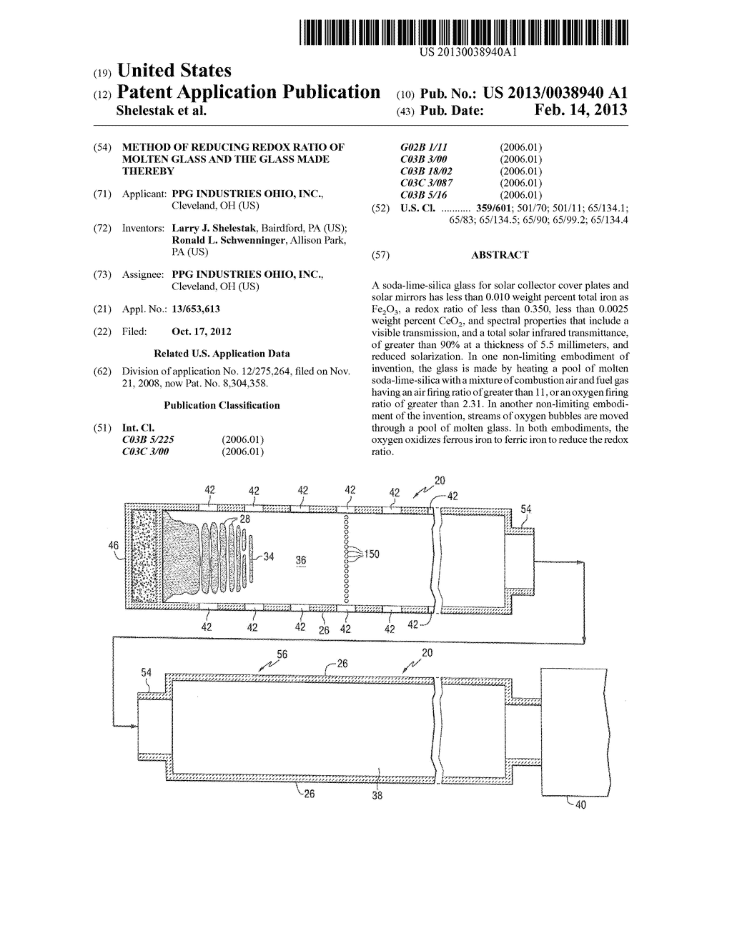 METHOD OF REDUCING REDOX RATIO OF MOLTEN GLASS AND THE GLASS MADE THEREBY - diagram, schematic, and image 01